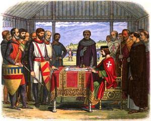 Prince John and his barons signing the Magna Carta