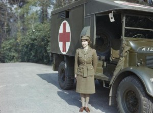 The Queen in the army, 1945.
