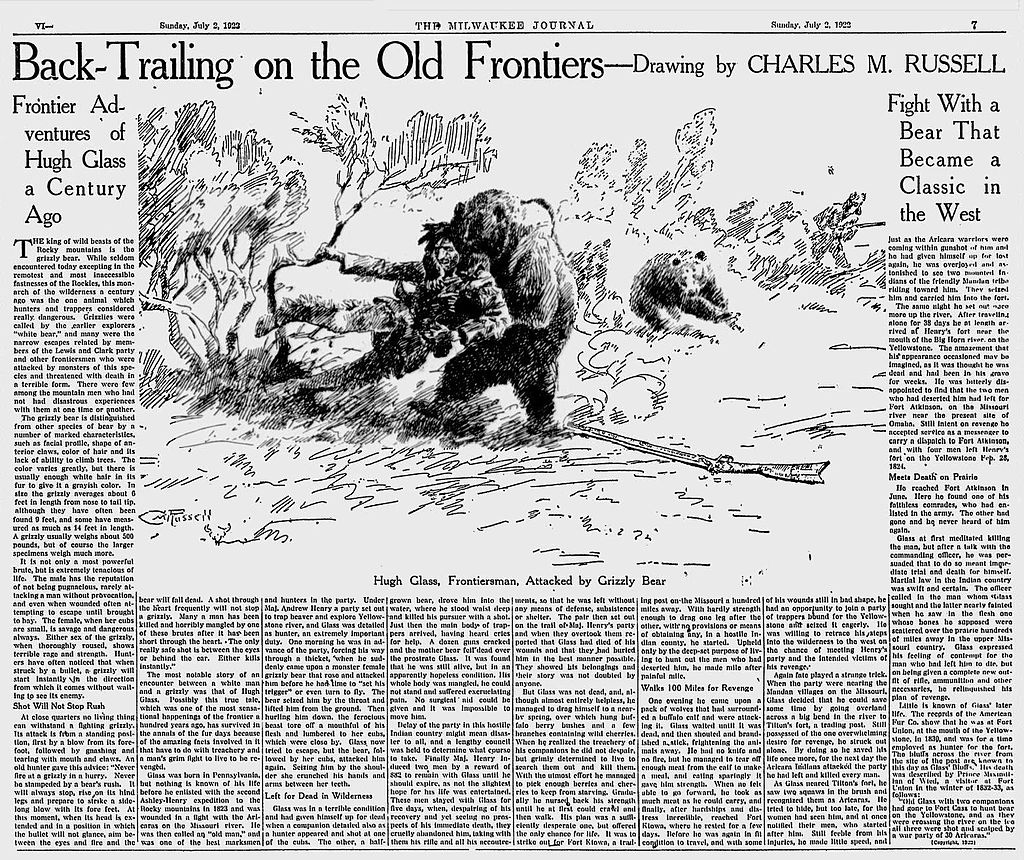 A newspaper article on Glass' Bear attack