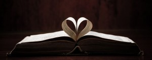 Religious Book folded into a heart shape