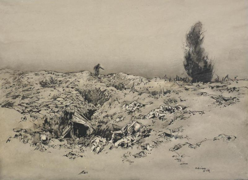 A Depiction of a Runner in Front of the Trenches at Arras