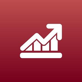 Economics graph of rising results