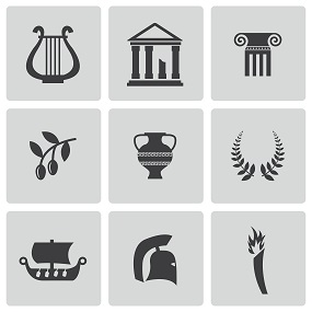 Tiled Image with various ancient history concepts
