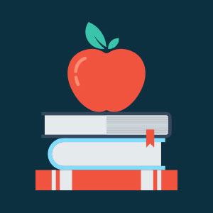 Apple and books, healthy education