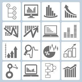 tiled image of various statistical concepts